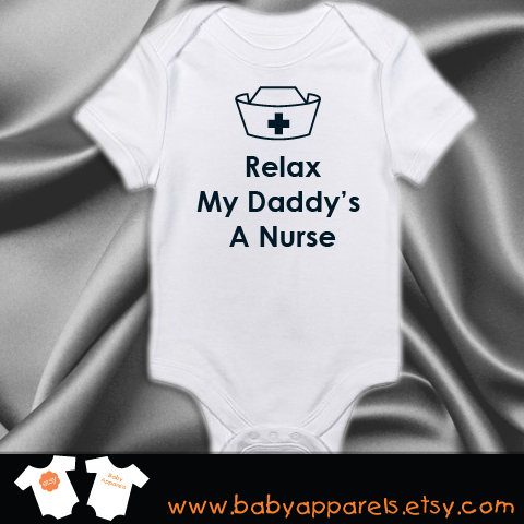 Relax my daddys a nurse bodysuit personalized baby gift cute baby white navy relax daddy a nurse negle Gallery